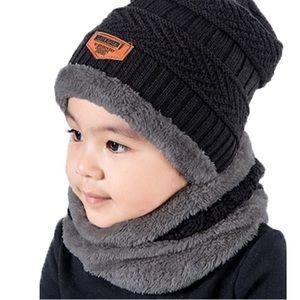 2Pcs Kids Winter Knitted Hats+Scarf Set